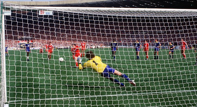 Football. 1988 FA Cup Final. Wembley. 14th May, 1988. Wimbledon 1 v Liverpool 0. Wimbledon goalkeeper Dave Beasant dives across his goal to save a penalty kick from Liverpool's John Aldridge.