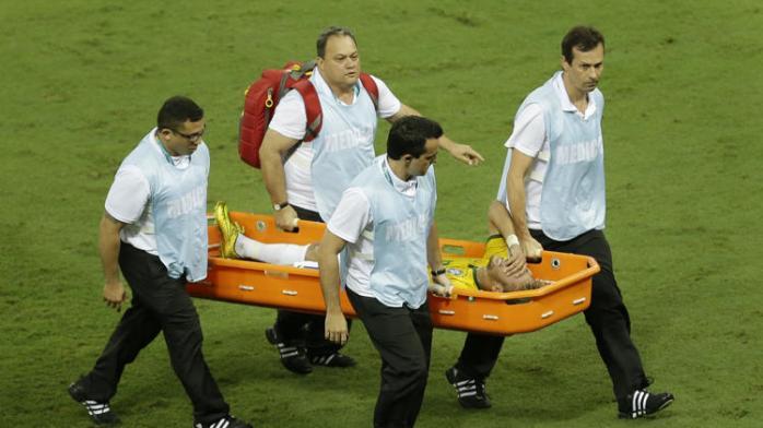 Neymar on stretcher