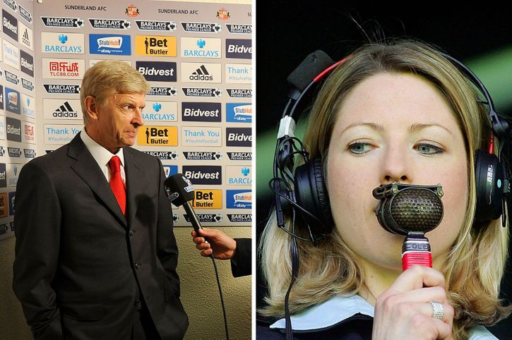 Arsene Wenger and Jaaqui Oatley. Her interview provoked a tetchy response from the Arsenal manager