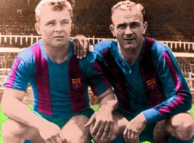 Di Stefano in Barca colours with Kubala.