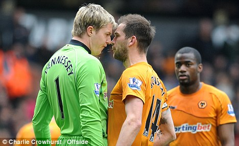 An onfield confrontation with 'keeper Wayne Hennessy didn't help matters much.