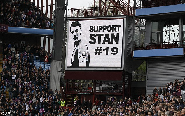 Villa fans - and many others throughout the game - showed their support for Petrov's battle.