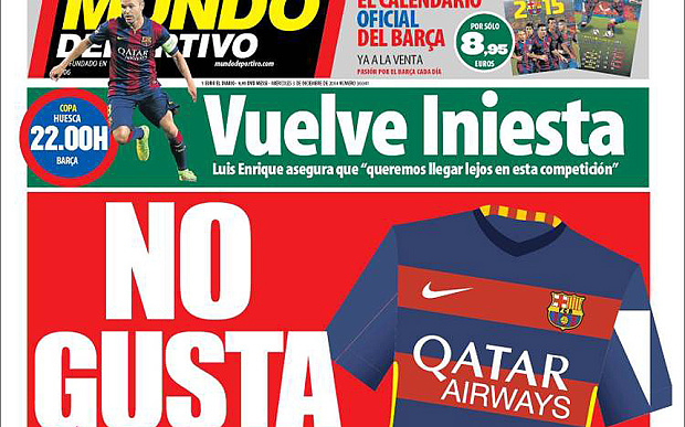 'No thanks!' The headline reflected how Barca fans felt about the hooped shirt.