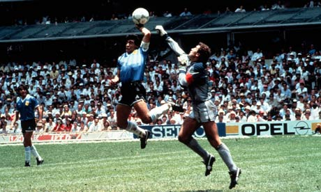 Maradona's infamous Hand of God goal.