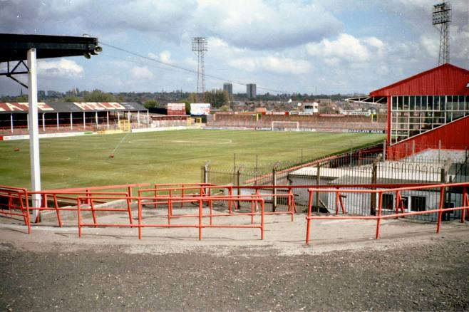 Fellows Park - Walsall's old ground. My normal 'pitch' would have been on the far side, just about level with the halfway line.