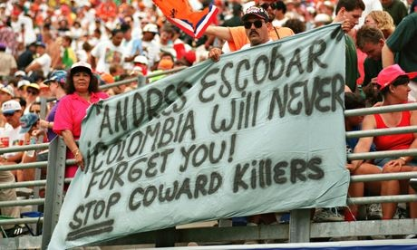 Colombia fans show their support the the late Escobar.