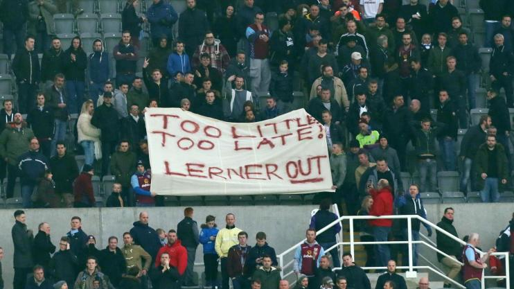 Villa fans at Newcastle's St James' Park show their dissatisfaction with how the club id being run.