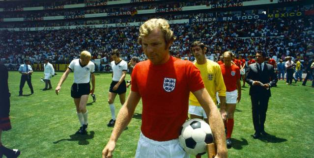 Bobby Moore leading England out to face West Germany