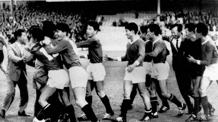 The North Koreans jubilantly celebrated their victory over Italy.