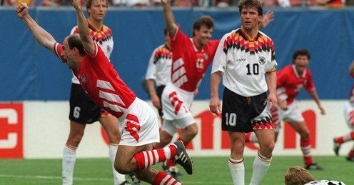 Letchkov celebrates after heading the winning goal against Germany that gave a fairytale ending to Bulgaria's most improbable of World Cup runs.